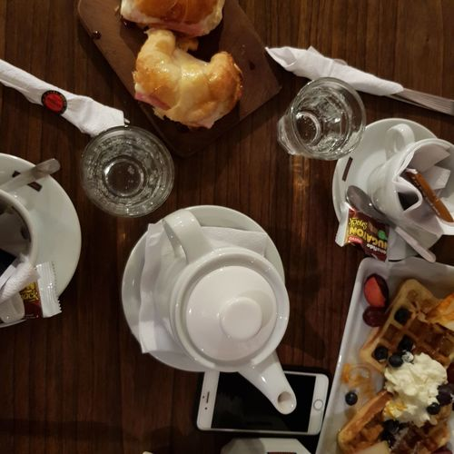 tea time Tea Waffle Gofre Mafalda Breack Breackfast Plate Directly Above Table High Angle View Drinking Glass Wood - Material Sweet Food Food And Drink Butter Knife Eaten Pancake Napkin Temptation