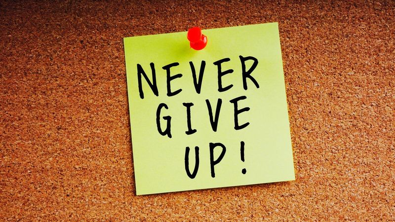 Motivation Concept. Closeup of sticky note paper with word ' Never Give Up ' on wooden background . Selective focus. Concept Sticky Notes Colourful Motivation Energetic Give Up Nevergiveup Wake Up