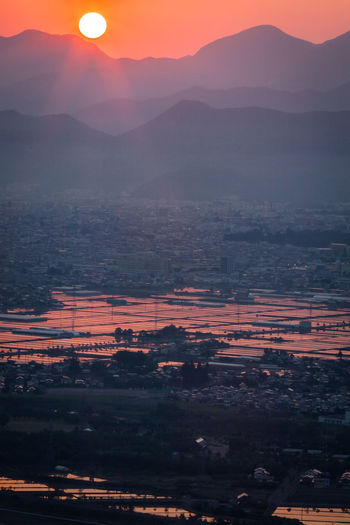 Morning Dawn Sunrise Rice Field Water Reflections Orange Spring Morning Glow Cityscapes