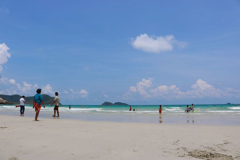 Sea,Nam Sai Beach Beach Sea Sky Water Cloud - Sky Sand Nature Real People Horizon Over Water Beauty In Nature Men Day Scenics Vacations Enjoyment Lifestyles Outdoors Blue Large Group Of People Sport Thailand Nam Sai Beach Vacations Summer