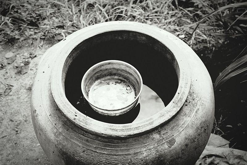 Nature Selective Focus Jar Dipper Cement Jar Water Jar Vintage Blackandwhite
