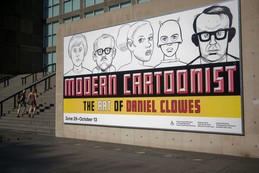 Outside of the Museum Of Contemporary Art Chicago Daniel Clowes Architecture Building Building Exterior Built Structure Cartoonish City Communication Day Museum Outdoors Text