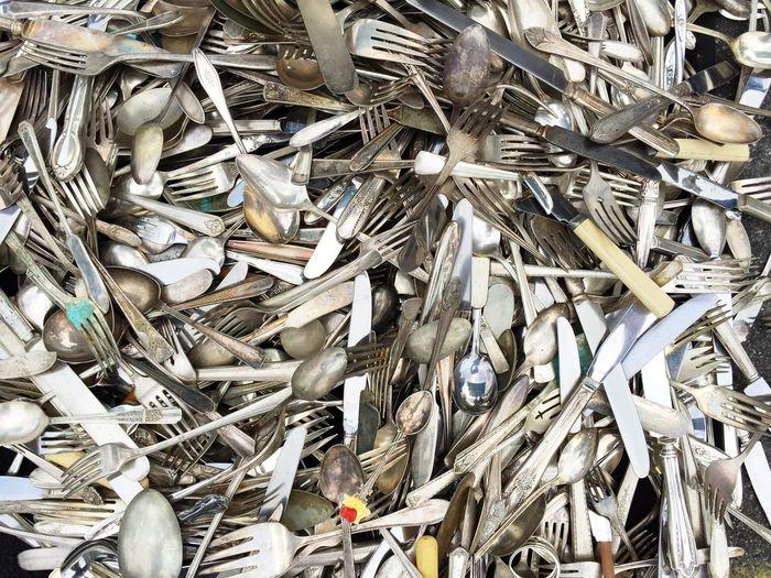 A Lot Abundance Abundant For Sale Fork Forks Forks, Knives, And Spoons Market Market Stall Metal Old Scrap Silverware  Vintage