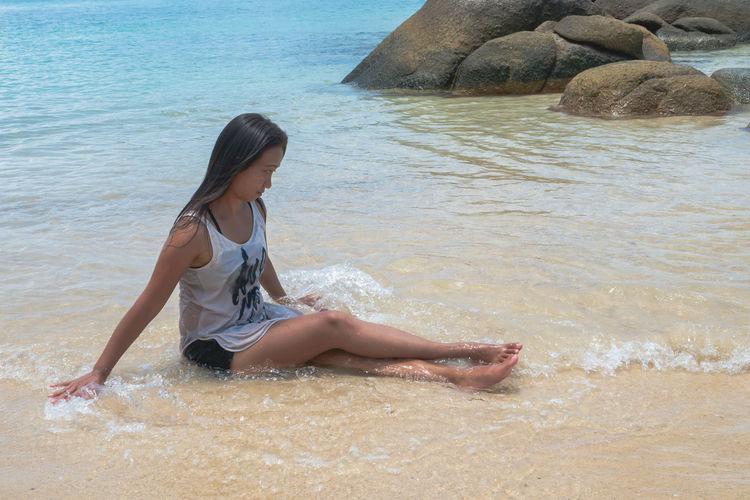 Full length of woman on beach