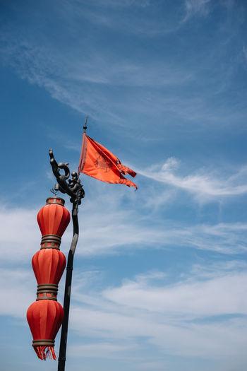 Chinese lantern style lamp post xi'an china.
