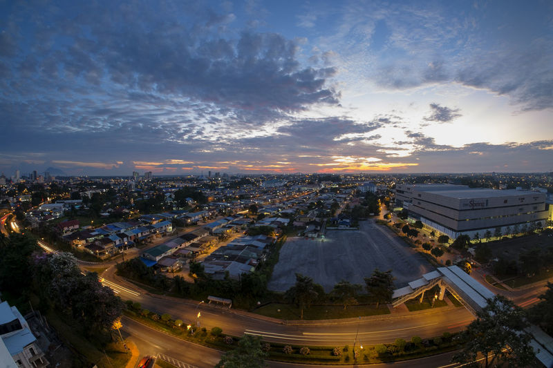 Kuching cityscapes Aerial View Architecture Building Building Exterior Built Structure City City Life Cityscape Cloud - Sky High Angle View Illuminated Landscape Nature No People Outdoors Residential District Road Sky Sunset