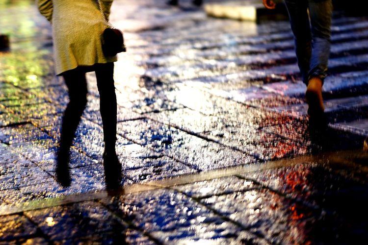 Walking by the city Urban Scene Zebra Crossing Rain Shadow Night City Urban Street Walking Woman Legs Mirkomacaritorino