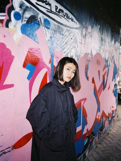 Graffiti Street Art One Person One Woman Only People Portrait Multi Colored Only Women Painted Image Adult Looking At Camera Adults Only Artist Young Adult One Young Woman Only Day Outdoors
