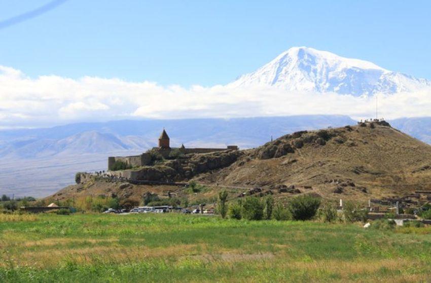 Armenia, Khor Virap Ararat Mountain🗻🗻 Mountain Khor Virap Mountain Rural Scene Agriculture Field Irrigation Equipment Sky Grass Architecture Landscape Building Exterior Archaeology Civilization