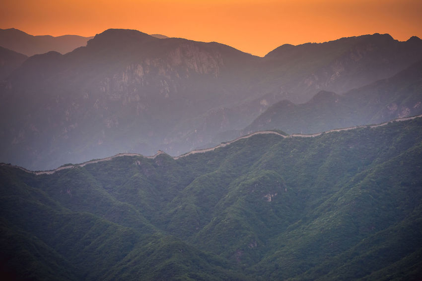 Great Wall of China, sunset time, Jiankou wild and unrestored section ASIA Great Wall Great Wall Of China Nature Nikon D810 Snake Beauty In Nature Day Evening Sky Expore Mountains Fog Idyllic Jiankou Landscape Mountain Mountain Range Nature No People Outdoors Scenics Sky Spring Sunset Tranquil Scene Tranquility Travel Destination