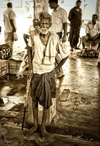India Adult Day Fishmarkets Full Length Kerala Lifestyles Old Fisherman One Person People Real People Senior Adult Sepia Photography Standing