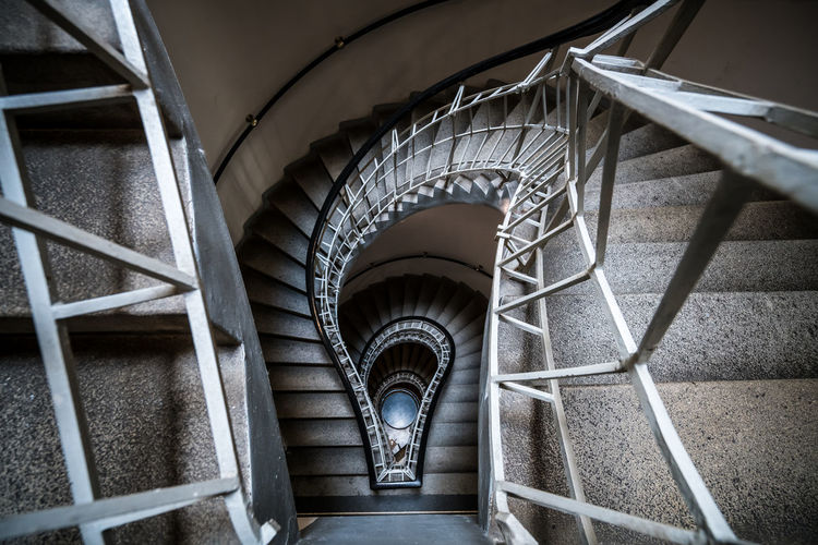Spiral Trap Architectural Feature Architecture Capital Cities  City Cubism Czech Republic Depth Of Field Europe Indoors  Interior Looking Down Perspective Prague Spiral Spiral Staircase Staircase Stairs Swirl