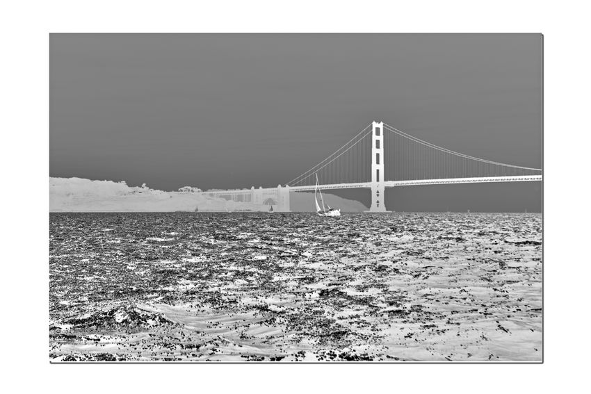 Sailing The Bay 12 Aboard The Alma Sailboat Flat-bottomed Scow Schooner Wooden-hulled Built In 1891 San Francisco Bay Sailing Golden Gate Bridge Eastern Span Bridge Span Bridge Tower Arch Fort Point Lighthouse San Francisco Shoreline Silhouettes Water Monochrome Photograhy Monochrome Black & White Black & White Photography Black And White Black And White Collection  Grayscale