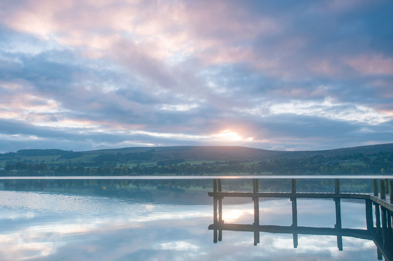 Lake District Ullswater Beauty In Nature Cloud - Sky Day Idyllic Jetty Lake Mountain Mountain Range Nature No People Non-urban Scene Outdoors Railing Reflection Scenics - Nature Sky Sunset Tranquil Scene Tranquility Water