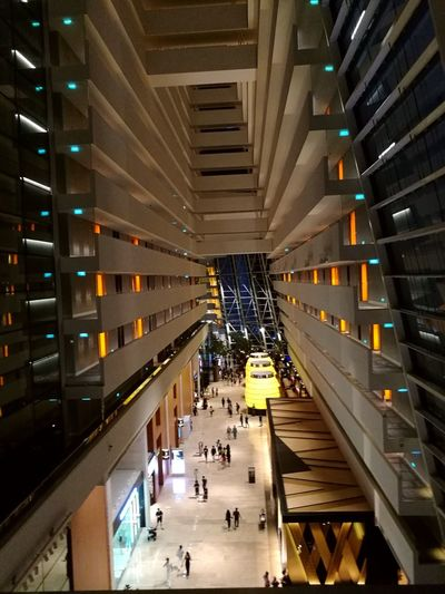 The Hall Wall Hotel Store Hotel Window Balcony Indoors  High Angle View Architecture Built Structure Illuminated People Large Group Of People