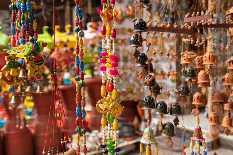 Close-up of decorations for sale in market