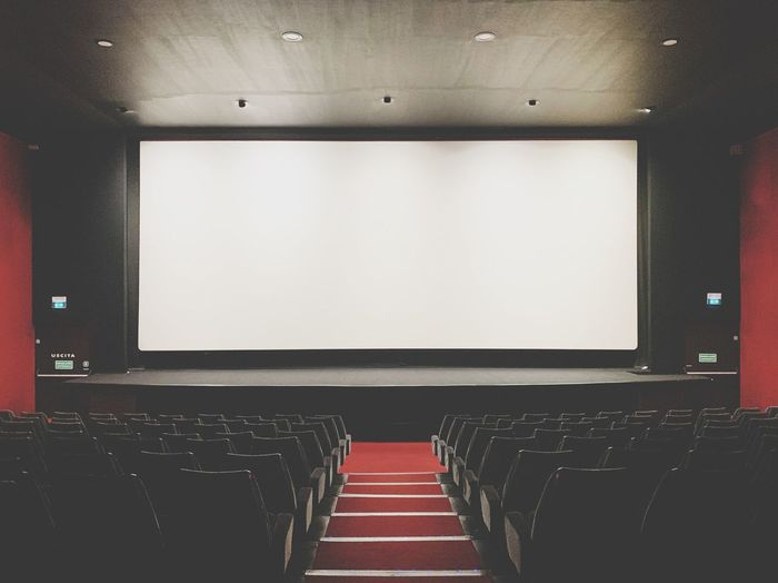 Empty screen at movie theater