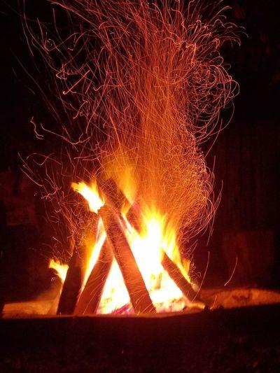 Nature Landscape Fire Night bonfire in last day of trip