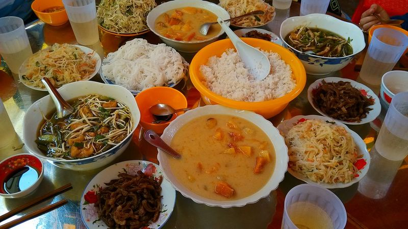 Abundance Bowl Choice Day Drink Food Food And Drink Freshness Healthy Eating High Angle View Incidental People Indoors  Large Group Of Objects Meal Plate Ready-to-eat Seafood Still Life Table Variation Vege Vegetarian Food Vietnam Vietnamese Food
