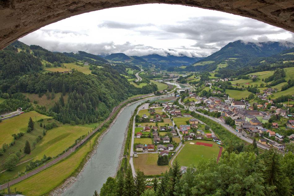 View from Hohenwerfen Castle Arch Castle Flowing Hohenwerfen Castle Landscape Mountain River Valley