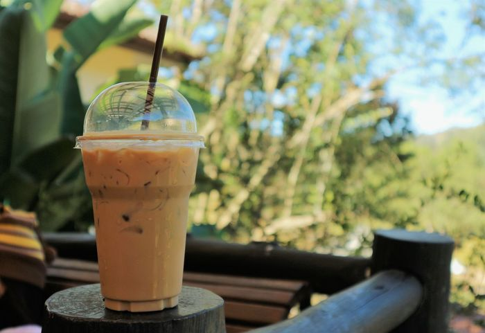 ice coffee in the plastic cup on the table with natural view as background Cafeine Ice Close-up Coffee - Drink Coffeee Day Drink Drinking Drinking Straw Focus On Foreground Food And Drink Freshness Growth No People Outdoors Plastic Cup Refreshment Table