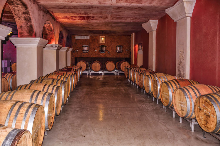 Wine barrels in warehouse