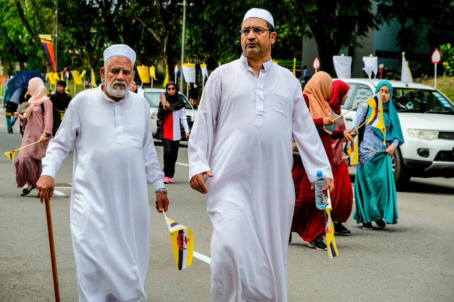 Senior Adult Togetherness Senior Men Happiness Outdoors Flag Waving Brunei Darussalam BandarSeriBegawan Brunei Celebration