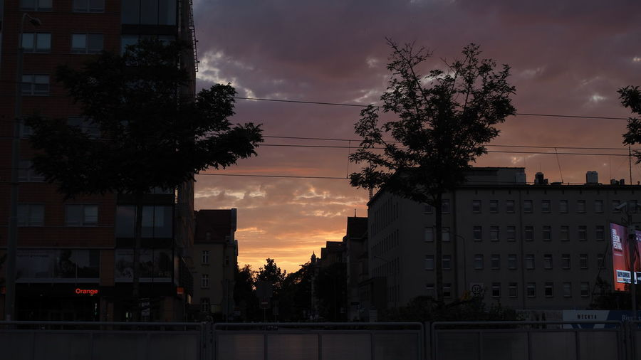 Silhouette trees by buildings against sky at sunset