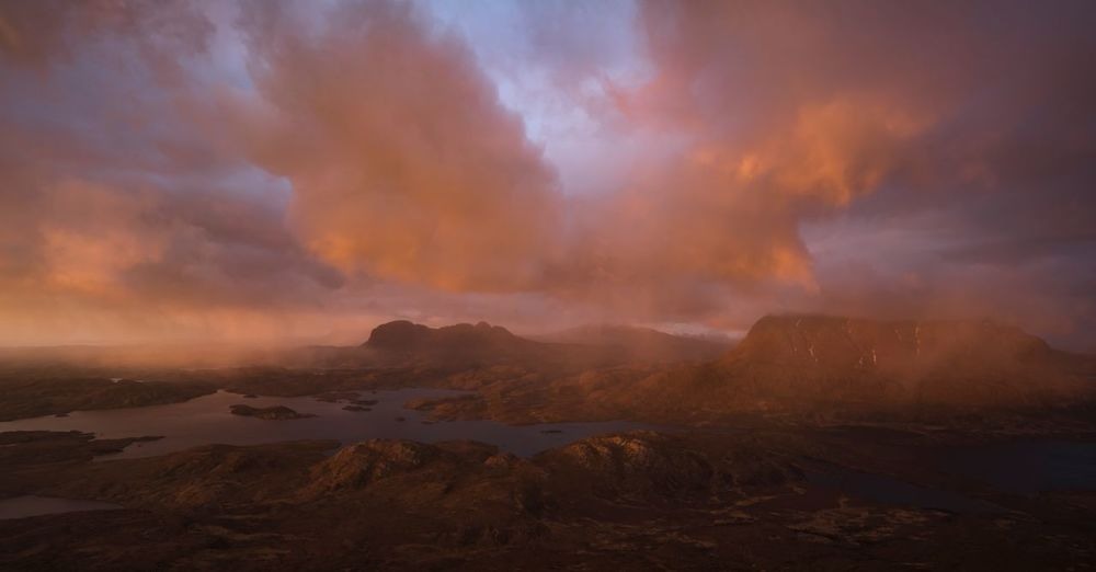 Suilven, Cul Mor and beyond at sunset. Highlands Storm Sunset Cul Mor Suilven Stac Pollaidh