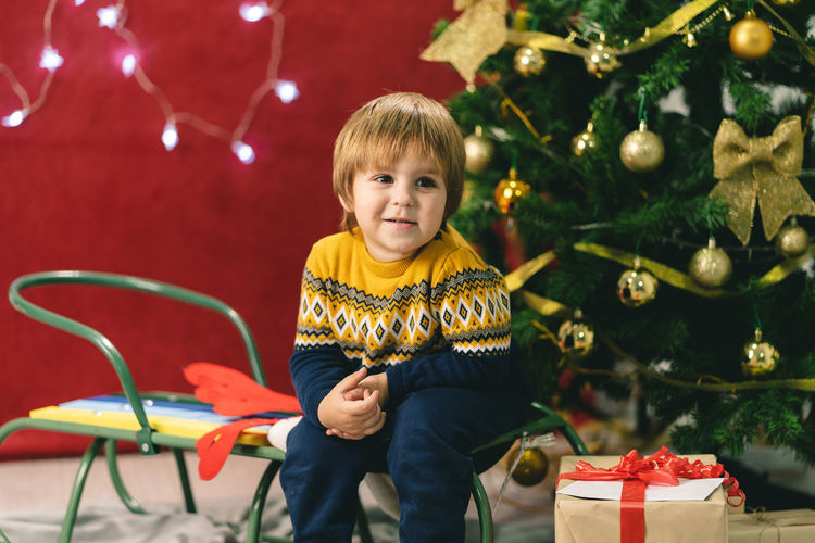 Portrait of smiling boy in christmas tree