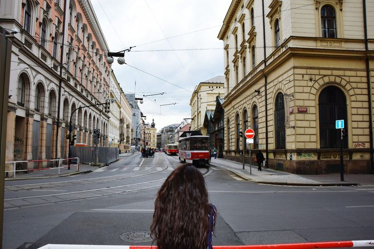 Rear View Of Woman Looking At Tramway Amidst Buildings In City