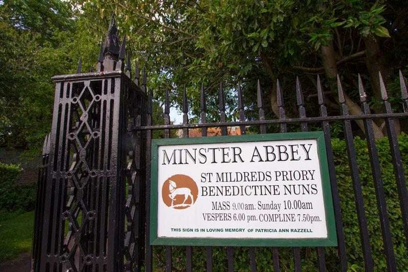 Minster upon Thanet, Kent, England. Communication Text Sign Western Script Plant Tree Information No People Warning Sign Day Information Sign Nature Growth Guidance Green Color Barrier Fence Boundary Outdoors Non-western Script Message