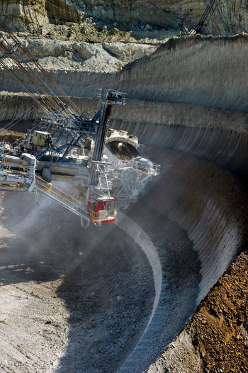Cropped image of bucket wheel excavator at stoilensky mining and processing plant