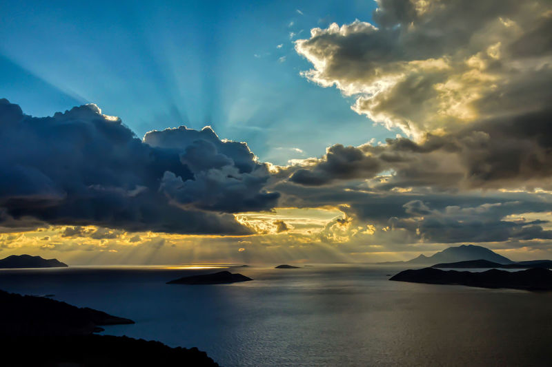 Cloud - Sky Sky Beauty In Nature Scenics - Nature Sunset Water Idyllic Nature Sea Silhouette Sunbeam Dramatic Sky Mountain Outdoors My Best Photo