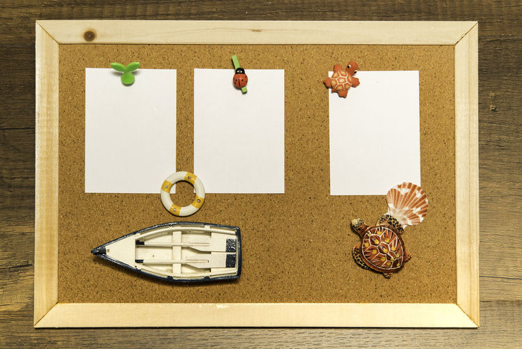 Close-up of paper bulletin board