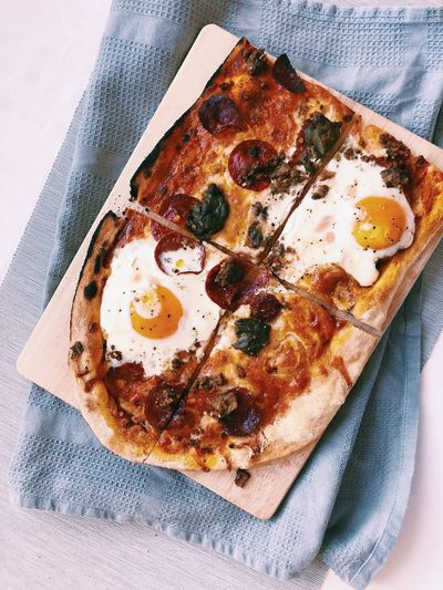 Morning Pizza Breakfast Pizza Pepperoni Pizza Egg Pizza Pizza Food And Drink Indoors  Food No People High Angle View Close-up Ready-to-eat