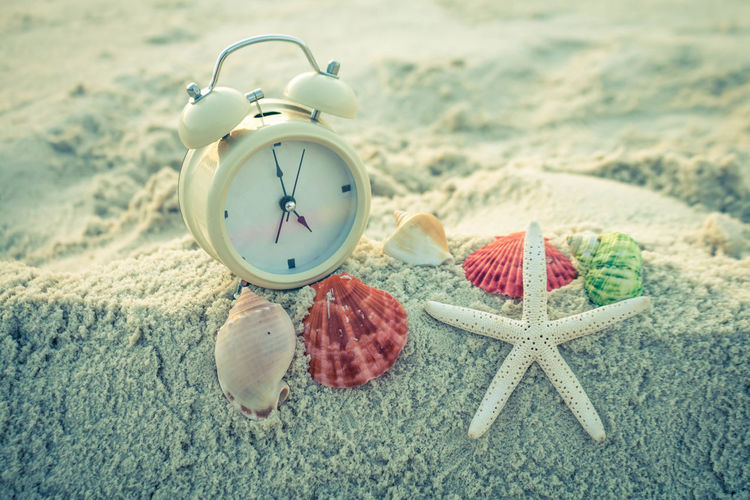 Close-up of alarm clock with seashells on sand at beach