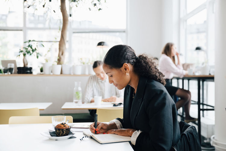 Woman working at table