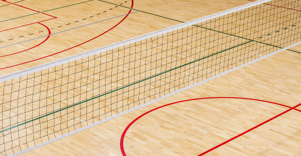 High angle view of net in court