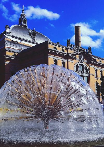'OLD & NEW' Architecture Beautiful Architecture Fountain Art Artistic New OLD ~ Theater National Theater Oslo EyeEm Selects Cityscape Beautiful Day Blue Sky City Life Streetphotography Moments Afternoon Sunny Summer Water Theater City Sky Architecture Building Exterior Cloud - Sky Built Structure Dome Flowing Water Urban Scene Place Of Interest