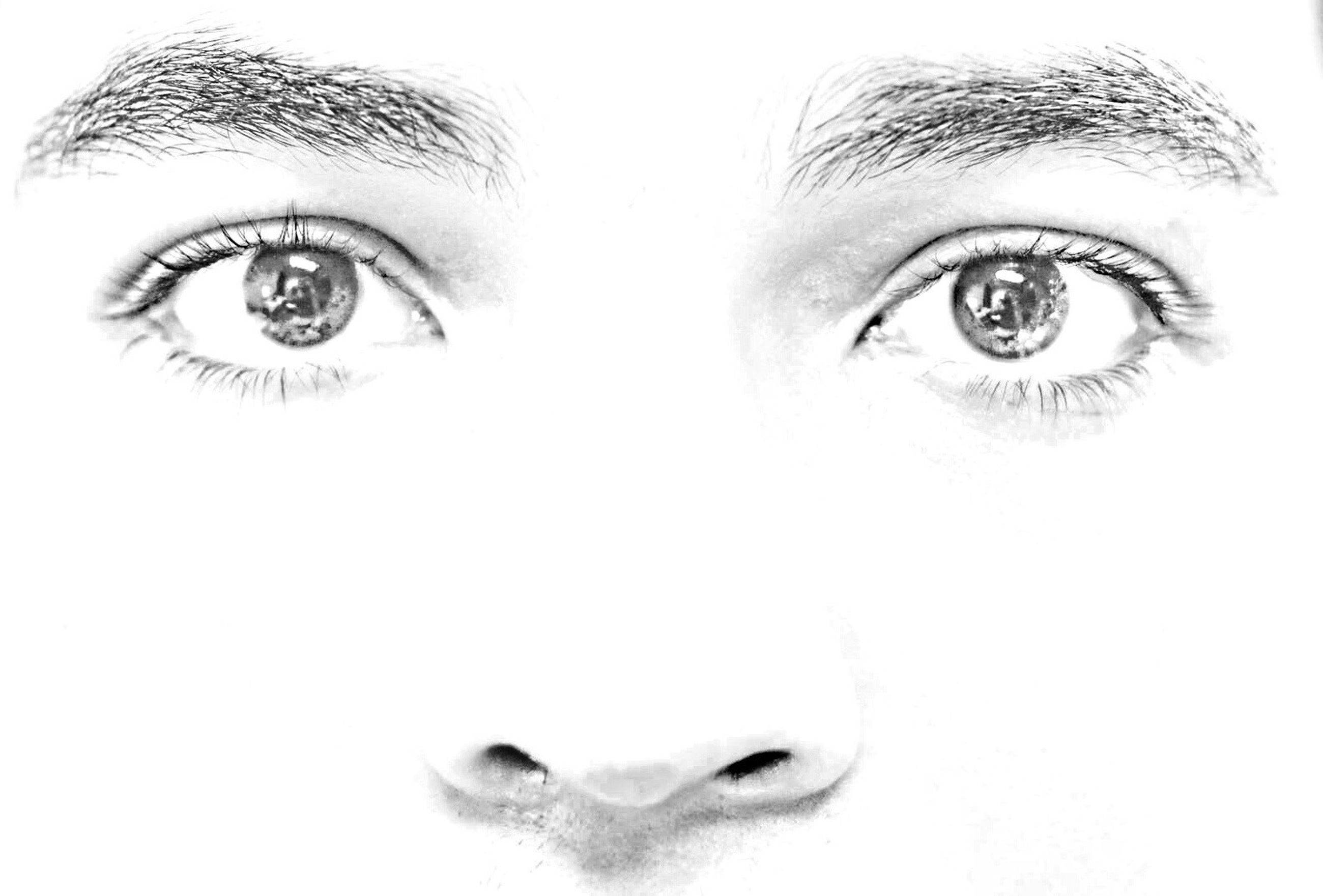 studio shot, looking at camera, white background, human eye, close-up, portrait, human face, headshot, indoors, front view, young adult, lifestyles, person, human skin, eyelash, eyesight, part of