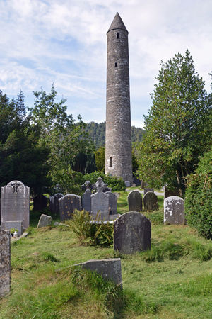 The Round Tower at Glendalough Cemetery Cultures Glendalough Grave Irland Memorial Monastery Nature Silence Of Nature Stone Material Tomb Tombstone Tower Wicklow Mountains  Wicklownationalpark