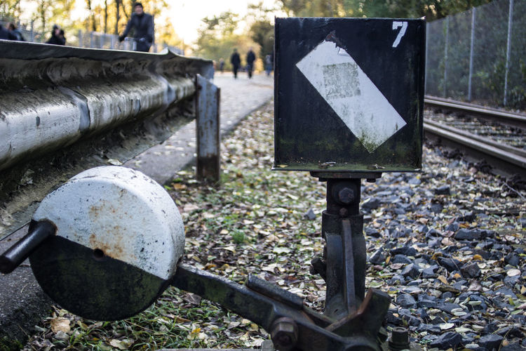 Close-up of railroad track switch