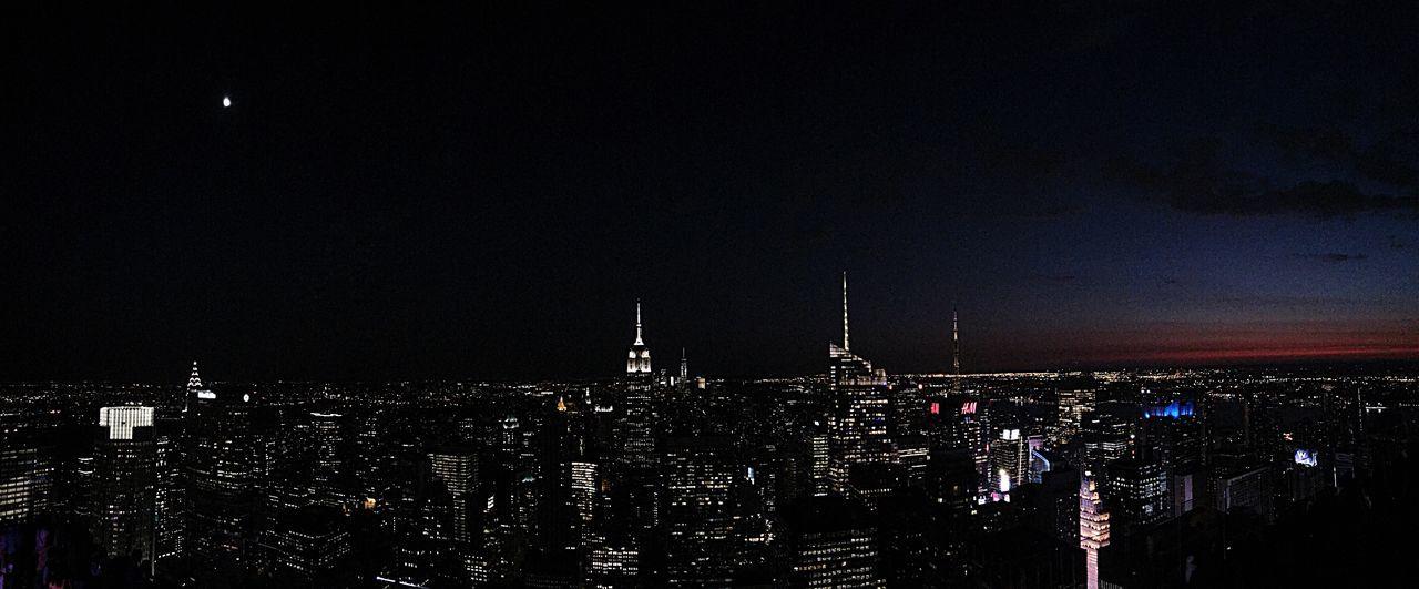 New York Newyorkcity New York Skyline  Night Nightphotography New York Night The Best Of New York New York City Life Cityscapes City Life Big City Life Night Sky Night Lights Nightlife Empire State Building Panorama Chrysler Building Moon City Moon Night City