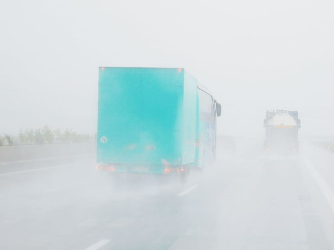 Bad Weather Blue Day Diminishing Perspective Empty Foggy Nature No People On The Road Rain Rainy Day Rainy Days Road Sky Speed The Way Forward Truck Vehicle Weather Copy Space Open Space Light And Bright