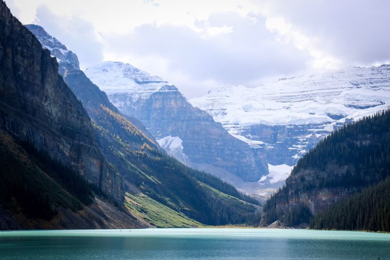 Lake Louise,Alberta Banff National Park  Alberta Canada Canada150 Lake Mountain Snow Nature Mountain Range Scenics Cold Temperature Beauty In Nature Tranquil Scene Tranquility Water Landscape Snowcapped Mountain Outdoors No People Sky Lost In The Landscape