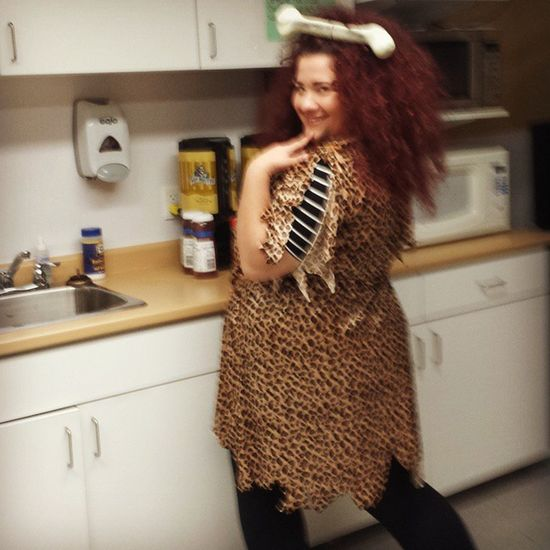 Trying to keep a straight face lol Work Cavewoman Thriftortreat Halloweenideas halloween valuevillage costumeconsultant