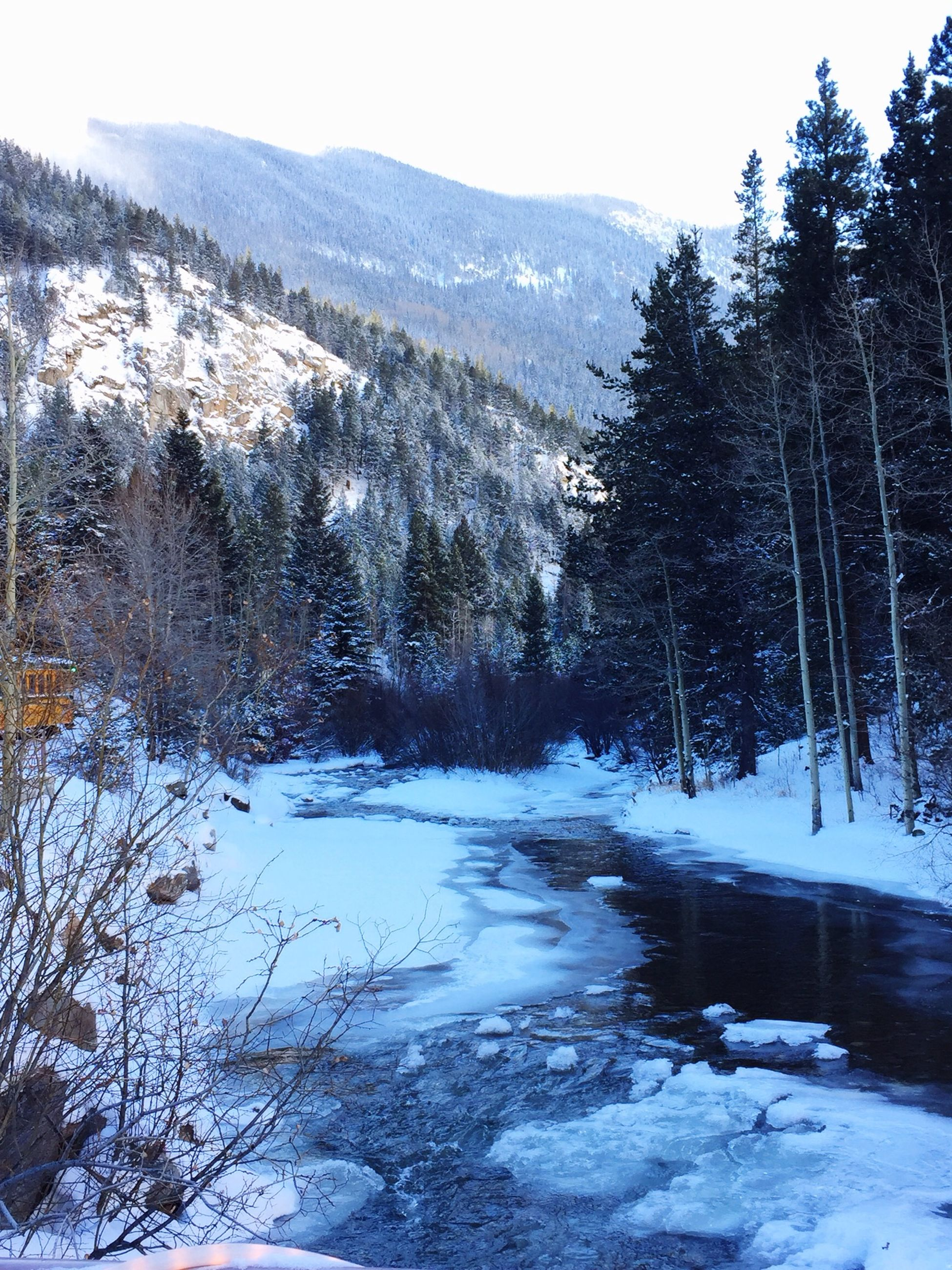 snow, winter, cold temperature, tranquil scene, tree, tranquility, mountain, season, scenics, beauty in nature, water, nature, weather, frozen, landscape, river, non-urban scene, lake, covering, clear sky
