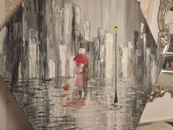 Etsy Art Painting Black Engagement Valentinesday White Canvas Oil Paletteknife Red Day Water Close-up