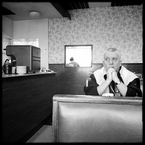 Lunchtime at the Empire Cafe. Porth Rhondda Wales Street Cafe Blackandwhite Igwales